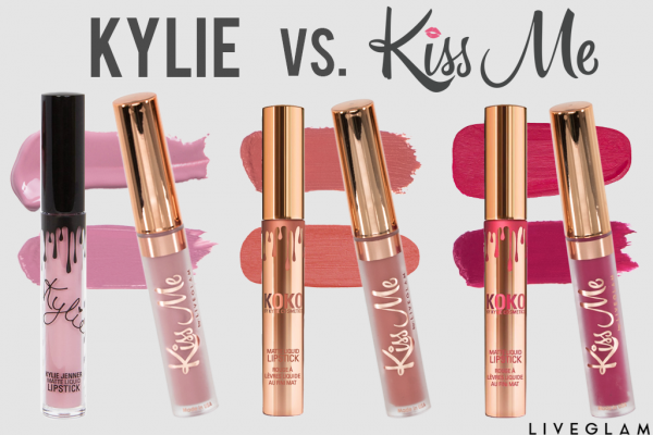 Kylie vs. LiveGlam KissMe Dupes