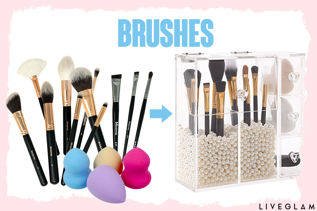 This organizer can hold up to 30+ makeup brushes, and it has 2 different sections. So, you can put your face brushes on one side and your eye brushes on the ...
