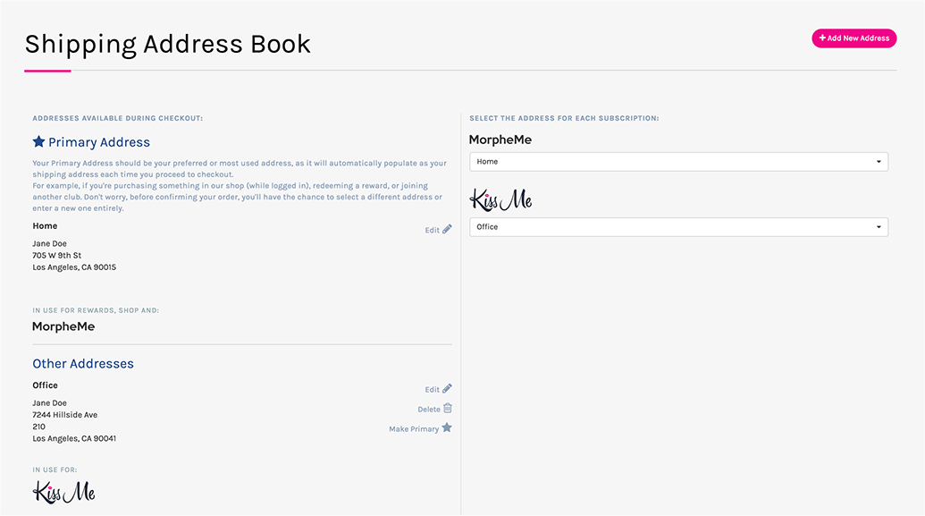 new address book feature for smoother checkout liveglam