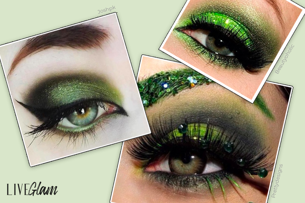 Witchy green shimmer wash eye look for halloween